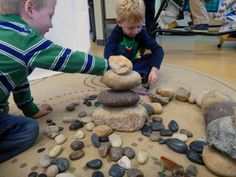"""Building & designing with a collection of rocks, stones & pebbles ("""",) Wonderful Reggio inspired blog!"""