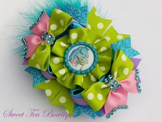 Monsters Inc. Boutique Stacked Hair Bow by por SweetTeaBowtique
