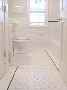 love, love, love the white subway tile and the white hex tile on the floor