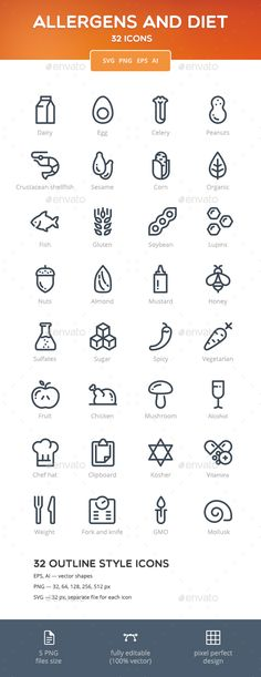 Allergens and Diet Icon Set — Vector EPS #nuts #mustard • Available here → https://graphicriver.net/item/allergens-and-diet-icon-set/15310279?ref=pxcr