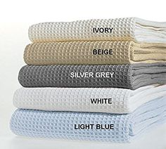"""TreeWool, 100% Soft Premium Cotton Thermal Blanket Light Weight Easy Care Soft Comfortable and Warm (King Size - 90"""" x 108"""", Waffle Weave, Silver Grey)"""