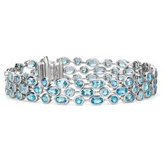 Blue Nile Three Row Blue Topaz Bracelet (€305) ❤ liked on Polyvore featuring jewelry, bracelets, bracelets/bangles, bracelets & bangles, bangle bracelet, blue topaz jewelry, blue jewelry and blue topaz bracelet