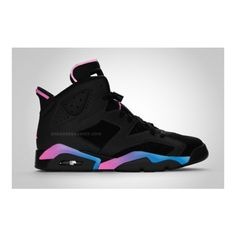 Air Jordan VI (6) Black Pink Flash ❤ liked on Polyvore featuring shoes, jordans ve sneakers