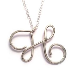 Letter H Initial Necklace Sterling Silver Letter by KianDesigns