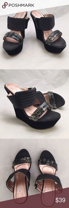 NWT Black Wedges Lightweight and comfy wedges by Maker's. Heel is wrapped in a faux suede and the double strap is a faux leather thats like a soft cushion that wraps around your foot just right. Medium width and true to size. Heel measures 5.5' and platform is 2' Maker's Shoes Wedges