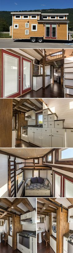 A 24' long, 275 sq.ft. off-grid, steel framed tiny house. The house includes a galley kitchen with box beam ceiling, two lofts plus queen daybed, skylight.