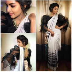 Looking for blouse designs photos? Here are our picks of 30 trending saree blouse models that will blow your mind. Saree Blouse Models, Saree Blouse Neck Designs, Fancy Blouse Designs, Saree Dress, Buy Designer Sarees Online, Designer Wear, Designer Blouse Patterns, Trendy Sarees, Saree Styles