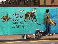 'Save The Bees' Street Art In London To Raise Awareness About Colony Collapse Disorder