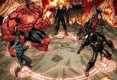 The Red Hulk's team, the latest incarnation of the Thunderbolts, would not be a team of heroes. Description from hitfix.com. I searched for this on bing.com/images