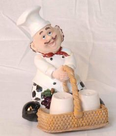 """Bistro Chef salt and pepper shakers figurines by Marcel Imports. $19.99. We sell unique wine bottle holders and decorative wine accessories. What *better way to present or g. Item Detail:. includes the chef, and the 2 shakers. chef item about 7""""x5"""". salt and pepper shakers about 4"""" High (standard size. perfect to display in your kitchen/dinning area  beautifully made of hand-painted polyresin  very sturdy"""