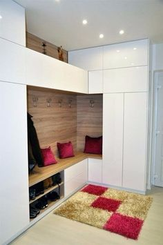 Best Modern Entryway Ideas With Bench Here are 15 modern entryway ideas for small spaces that will keep your home's first and last impression on-point Latest Cupboard Designs, Bedroom Cupboard Designs, Modern Entryway, Entryway Ideas, Interior Architecture, Interior Design, Living Room Cabinets, Hallway Storage, House Entrance