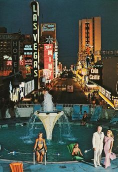 Las Vegas c.1971. Fremont Street seen from then-new Union Plaza Hotel.