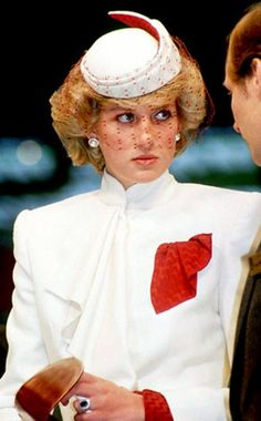 "FASHION-FORWARD FLASHBACK  Veils aren't just for weddings, as the late Princess Diana proved with this natty ""walkabout"" hat and matching jacket"