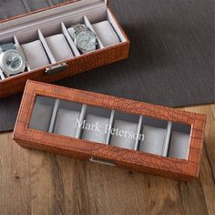 Groomsman Gift Idea: Brown Crocodile Leather Watch Box with Personalized Lid