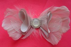 Feather Bowtie Bridal Hairpiece or Pin by bellamariacreations, $35.00