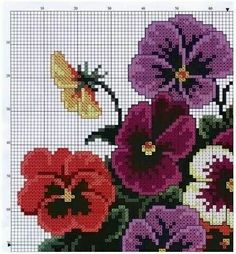 Fabulous florals on this site. 123 Cross Stitch, Cross Stitch Pillow, Cross Stitch Kitchen, Cross Stitch Flowers, Cross Stitch Charts, Cross Stitch Designs, Cross Stitch Patterns, Hand Embroidery Designs, Embroidery Patterns