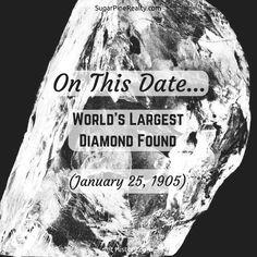 """On This Date → World's Largest Diamond Found (January On This Date, Dating World, Worlds Largest, January, Diamond, Twitter, Diamonds"
