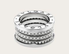 bulgari ring in white gold with pav diamonds