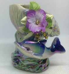 New Porcelain Candle holder Figurine Multi- Color Dolphin Purple Rose Decoration | eBay