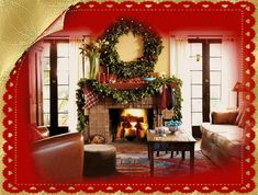 Happy Holidays animated gif decorate fireplace living room christmas