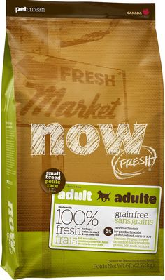It's no surprise that dogs love the freshness of now. With this Now Fresh Small Breed Adult Recipe, your little one gets 100% fresh turkey, salmon and duck, and 100% fresh omega 3 & 6 oils from coconuts and canola. It also features wholesome berries, fruits and veggies such as peas, spinach, cranberries, pumpkin, blackberries, alfalfa sprouts, kelp, lentils and carrots. Yum! It contains zero grains, gluten, wheat, beef, corn, soy, rendered meats, by-products or artificial preservative...