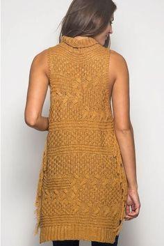 Caramel High Neck Fringe Sweater