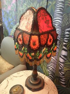 Vintage Lamp and Bead Shade