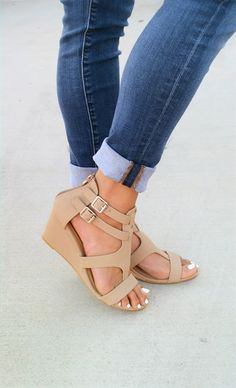 These double buckle wedges are a must have. These are super comfortable with the cushioned insole and bold buckles for the perfect fit!