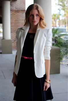 Ruched sleeves on a chic white blazer (alice + olivia) works every time