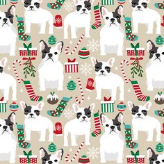 French Bulldogs at Christmas, available as Fabric, Wallpaper, and Wrapping Paper, design by petfriendly on Spoonflower - custom orders at www.spoonflower.com