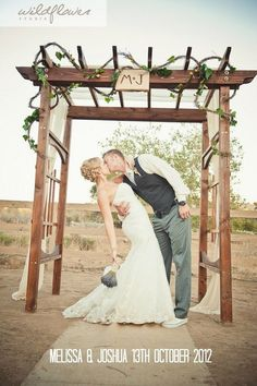 M J Chic diy ladder shaped wooden arch for Ranch Wedding - timbo, ourdoor decoration
