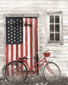 Framed Patriotic Bicycle Print Bicycle Print, Art And Technology, Art Store, State Art, American Flag, Giclee Print, Living Room Decor, Fine Art Prints, Canvas