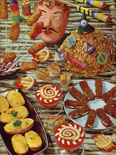 A mustachioed señor and a witch perched on top of a sugar-glazed mound of puffed wheat cereal watch over this array of bewildering party treats. Not sure what kind of party this is. Retro Recipes, Vintage Recipes, Vintage Baking, Vintage Food, Retro Vintage, Lynda Barry, Weird Food, Vintage Cookbooks, Party Treats