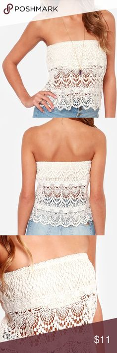 Crochet strapless cream top We're thankful for tops that never fail like the Crochet Grace Strapless Cream Top! An elasticized strapless neckline starts this look off on the sexy side, with a bandeau lining beneath a scalloped panel of cream crochet lace. Great condition Lulu's Tops