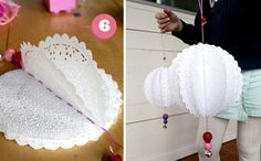"DIY paper doily "" Pom pom"". Cheap and easy party decor. I also think it would look cute in a nursery or in little girl's room"
