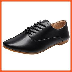 Rismart Women s Pointed Toe Preppy Split Leather Oxfords Shoes   9KDA1VQ4L