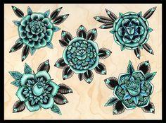 Amy Williams - Turquoise Roses Tattoo Art - Print