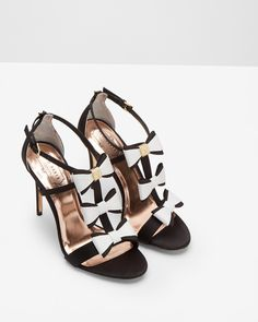 Triple bow detail sandals - Black | Shoes | Ted Baker ROW