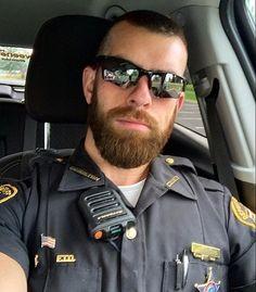 Tumblr reference for men in uniforⓂ️ Hot Cops, Handsome Bearded Men, Mirrored Sunglasses, Mens Sunglasses, Hot Hunks, Men In Uniform, Tumblr, Thin Blue Lines, Police Officer
