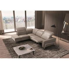 J Ocean Contemporary Premium Grey Leather Motion Sectional Sofa Right Hand #leathersectionalsofas