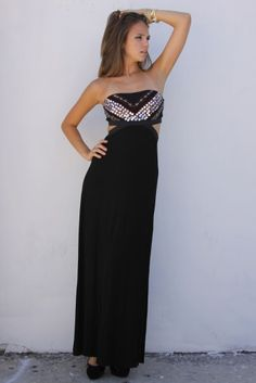Strapless Black Embellished Cutout Maxi Dress