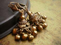Ghanghali Indian Brass Jhumka Earrings by handmadebyannepotter