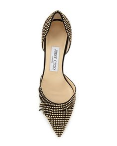 Jimmy Choo, Kyra Studded 85mm d'Orsay Pump in Black/Gold, $975