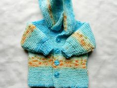 Baby boy sweater with hood in multicolor hand by BabycraftCindy