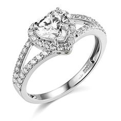 Engagement Rings Simple   925 Sterling Silver Rhodium Plated Wedding Engagement Ring  Size 7 * Be sure to check out this awesome product. Note:It is Affiliate Link to Amazon.