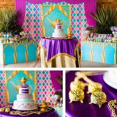 Cake + Cake Table from a Princess Jasmine Birthday Party via Kara's Party Ideas… Jasmin Party, Princess Jasmine Party, Princess Theme Party, Disney Princess Party, Aladdin Birthday Party, Aladdin Party, 1st Birthday Parties, Birthday Ideas, Arabian Party
