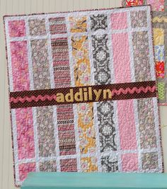 """always looking for fun ways to use large prints - fun quilt - from """"Little Quilts 4 Little Kids"""" I believe"""