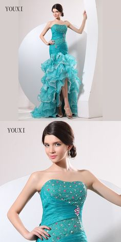 Fashion High Low Blue Dress Crystal Beading Sequins Ruffles Organza High Quality Prom Dresses 2017 New Arrivals