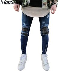 32cce8af5b6 Mens Ripped Slim Fit Motorcycle Vintage Denim Jeans Hiphop Streetwear Pants  Material  Cotton + Denim Pattern Type  Solid Fit  Fits true to size  Thickness  ...