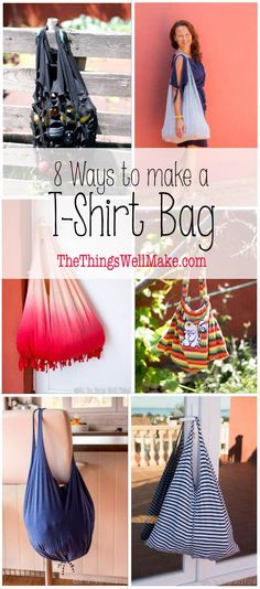 There are lots of ways to make a t-shirt into a bag or backpack. I'll show you eight great ways to do it, and you don't even need to know how to sew! #tshirt #shoppingbag #backpack  via @thethingswellmake